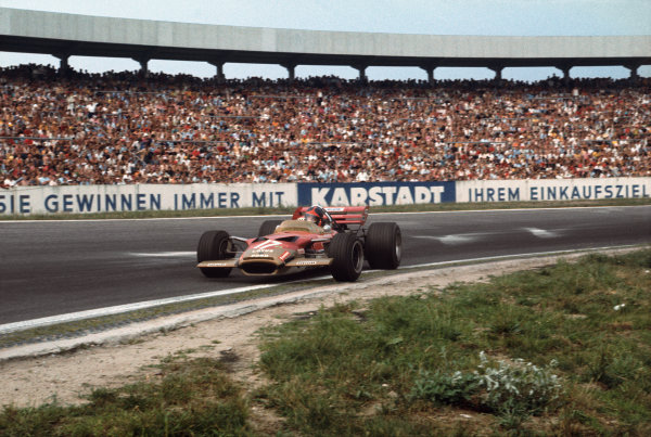 Hockenheim, Germany. 31st July - 2nd August 1970.  Emerson Fittipaldi, Lotus 49C Ford, 4th position, gets sideways at the Sachskurve.  Ref: 70GER09. World Copyright: LAT Photographic