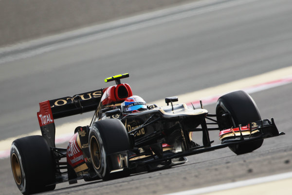 Bahrain International Circuit, Sakhir, Bahrain Sunday 21st April 2013 Romain Grosjean, Lotus E21 Renault.  World Copyright: Andy Hone/LAT Photographic ref: Digital Image HONY1381