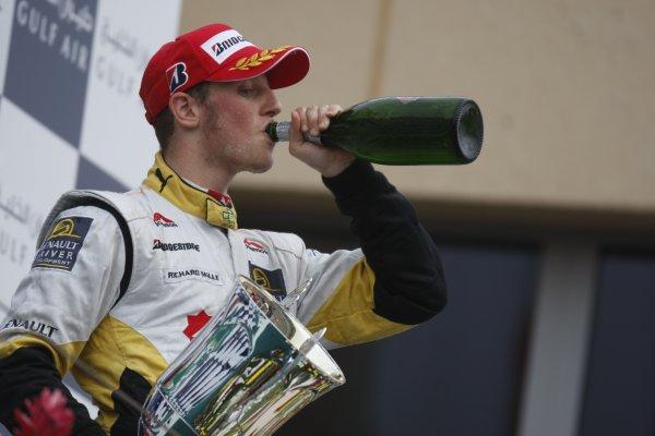2008 GP2 Asia Series. Saturday Race.Bahrain International Circuit. Sakhir, Bahrain. 5th April. Romain Grosjean (FRA, ART Grand Prix) celebrates victory. World Copyright: Glenn Dunbar/GP2 Series Media Service. Service ref:__O9T0413 jpg