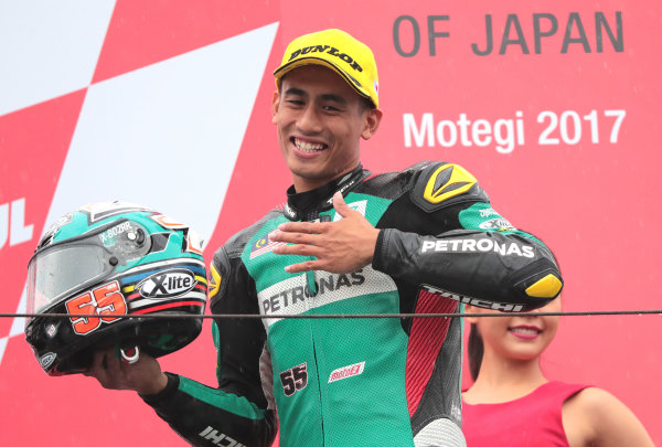 2017 Moto2 Championship - Round 15 Motegi, Japan. Sunday 15 October 2017 Third place Hafizh Syahrin, Petronas Raceline Malaysia World Copyright: Gold and Goose / LAT Images ref: Digital Image 698131