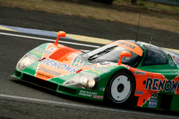Circuit de La Sarthe, Le Mans, France. 5th - 12th June 2011.The 1991 Le Mans winning Mazda 787B is given a run around the circuit by Patrick Dempsey. Action Photo: Drew Gibson/LAT Photographic.  ref: Digital Image _Y2Z4729