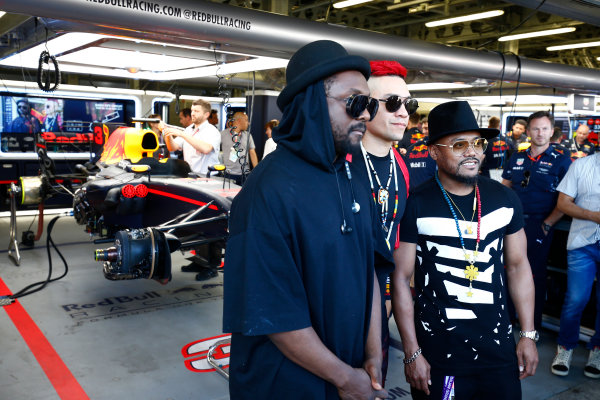 Baku City Circuit, Baku, Azerbaijan. Saturday 24 June 2017. The Black Eyed Peas pose in front of the Red Bull garage. World Copyright: Andy Hone/LAT Images ref: Digital Image _ONY7687