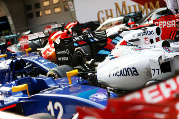 Shanghai International Circuit, Shanghai, China. Sunday 12 April 2015. The cars of the finishers in Parc Ferme. World Copyright: Alastair Staley/LAT Photographic. ref: Digital Image _R6T3157
