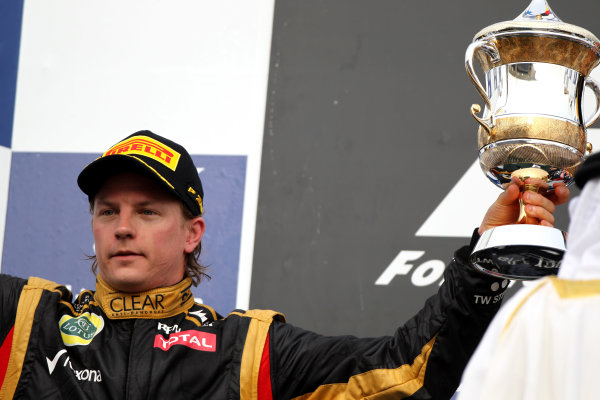 Bahrain International Circuit, Sakhir, Bahrain22nd April 2012Kimi Raikkonen, Lotus GP, 2nd position, with his trophy.World Copyright: Andy Hone/LAT Photographicref: Digital Image HONY8678