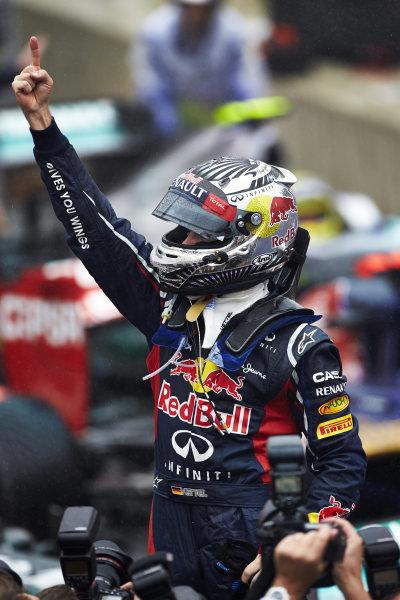 l Sunday 25th November 2012. 2012 World Champion Sebastian Vettel, Red Bull Racing, celebrates in Parc Ferme. World Copyright: Steve Etherington/c ref: Digital Image SNE21449 copy