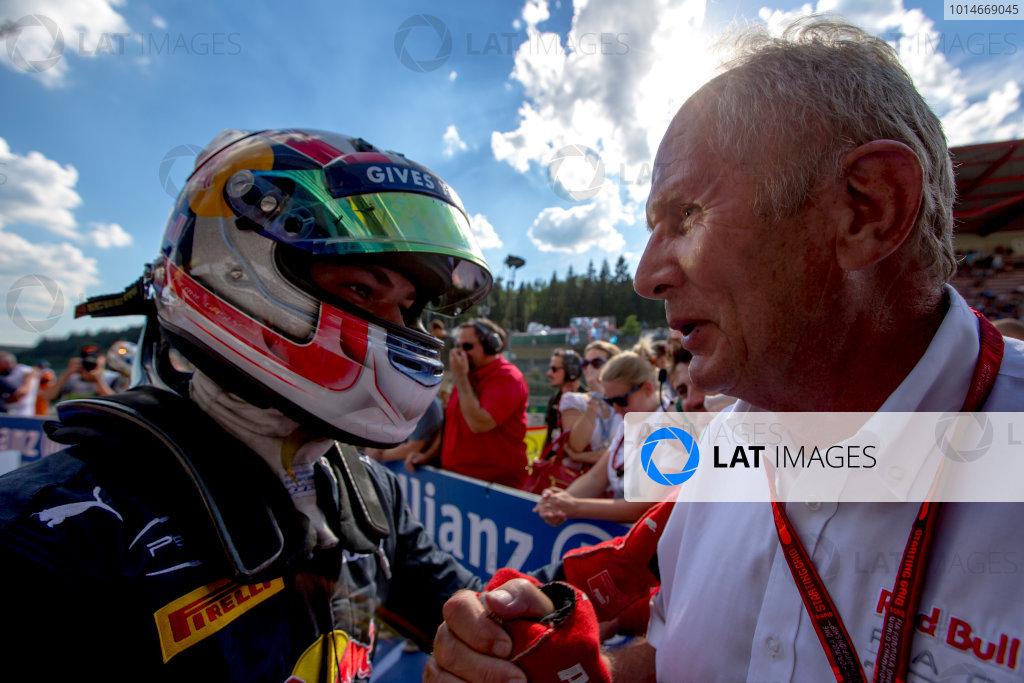 2016 GP2 Series Round 8.  Spa-Francorchamps, Spa, Belgium. Saturday 27 August 2016. Pierre Gasly (FRA, PREMA Racing) with Helmut Marko. Photo: Zak Mauger/GP2 Series Media Service. ref: Digital Image _L0U1087
