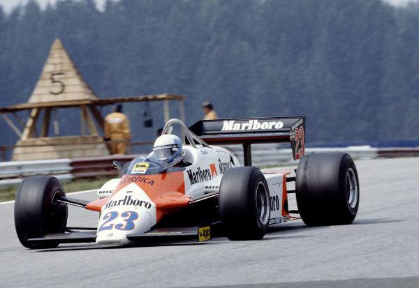 1983 Austrian Grand Prix.Osterreichring, Zeltweg, Austria.12-14 August 1983.Mauro Baldi (Alfa Romeo 183T).Ref-83 AUT 08.World Copyright - LAT Photographic