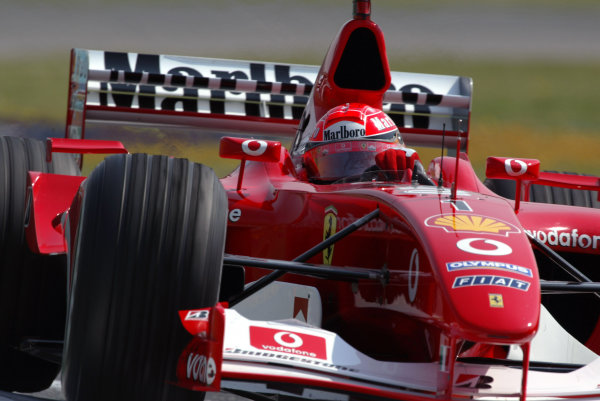 2003 San Marino Grand Prix - Friday 1st QualifyingImola, Italy. 18th April 2003Michael Schumacher, Ferrari F2002, action.World Copyright: Steve Etherington/LAT Photographic ref: Digital Image Only
