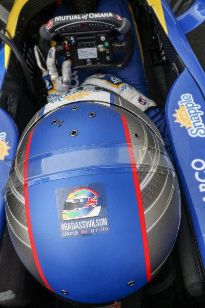 28-30 August, 2015, Sonoma, California USA Justin Wilson tribute decal on Marco Andretti helmut ?2015, Sam Cobb LAT Photo USA