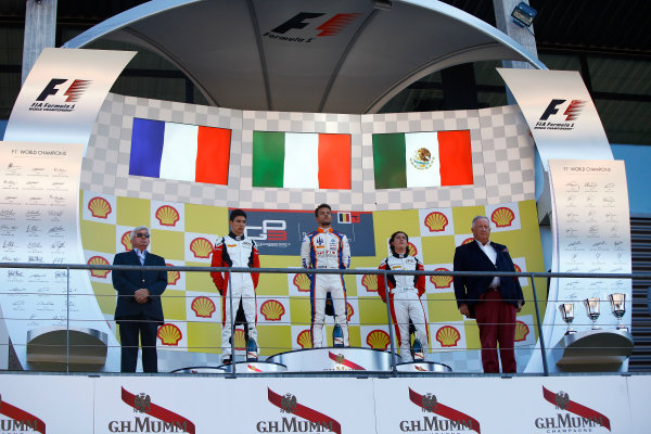 2015 GP3 Series Round 5. Spa-Francorchamps, Spa, Belgium. Sunday 23 August 2015. Esteban Ocon (FRA, ART Grand Prix), Luca Ghiotto (ITA, Trident) and Alfonso Celis Jr (MEX, ART Grand Prix) on the podium. World Copyright: Zak Mauger/LAT Photographic. ref: Digital Image _MG_1843