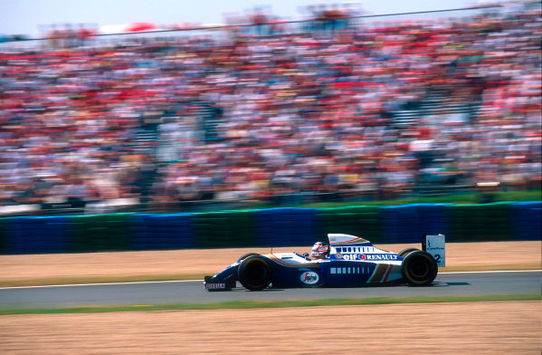 1994 French Grand Prix.Magny-Cours, France.30/6-2/7 1994.Nigel Mansell (Williams FW16 Renault). He exited the race after his transmission's hydraulic pump failed.Ref-94 FRA 02.World Copyright - LAT Photographic