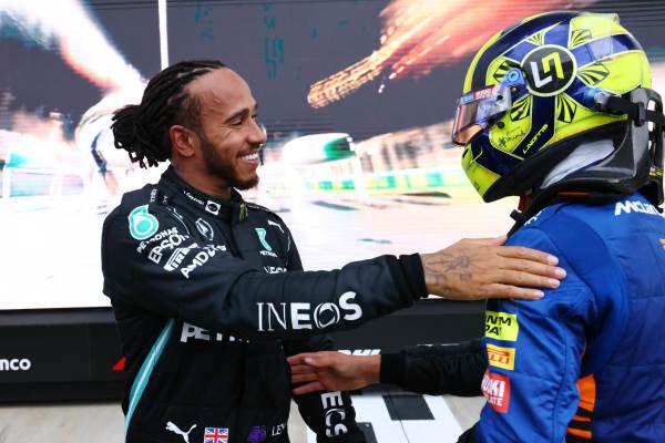 Lando Norris, McLaren, congratulates Sir Lewis Hamilton, Mercedes, 1st position, in Parc Ferme