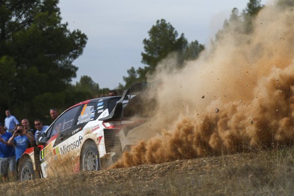 Ott Tänak, Toyota Gazoo Racing, Toyota Yaris WRC 2018, in action on Day 2 of Rally Catalunya, Spain.