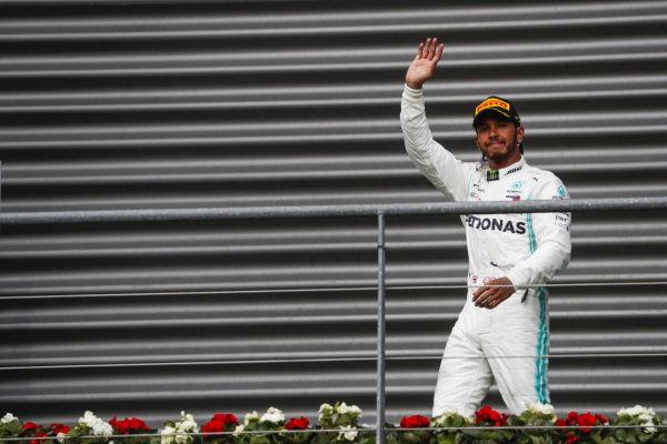 Lewis Hamilton, Mercedes AMG F1, on the podium