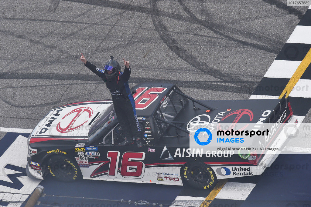 #16: Austin Hill, Hattori Racing Enterprises, Toyota Tundra Hino, AISIN Group celebrates his win