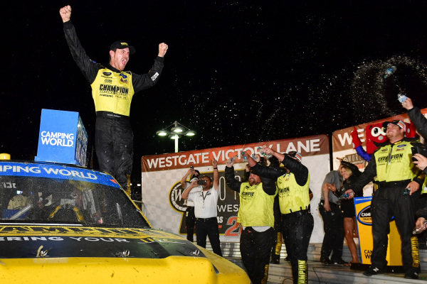 #98: Grant Enfinger, ThorSport Racing, Ford F-150 celebrates after winning