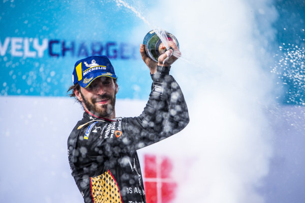 Jean-Eric Vergne (FRA), DS Techeetah, 2nd position, sprays Champagne on the podium