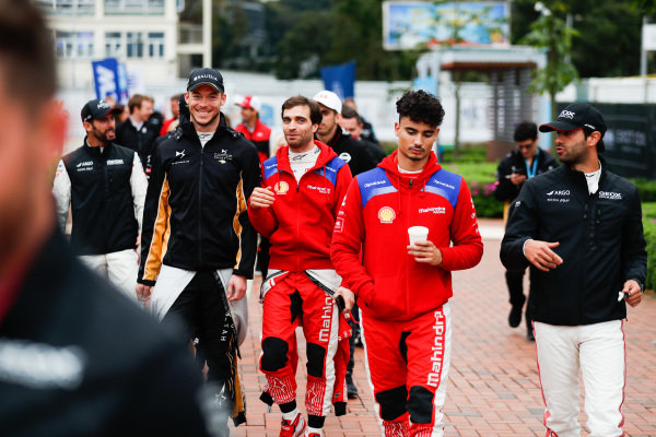 Andre Lotterer (DEU), DS TECHEETAH, Jérôme d'Ambrosio (BEL), Mahindra Racing, Pascal Wehrlein (DEU), Mahindra Racing and Felipe Nasr (BRA), GEOX Dragon Racing walk to the autograph session