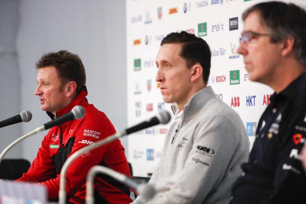 Allan McNish, Team Principal, Audi Sport Abt Schaeffler in the press conference with James Barclay, Team Director, Panasonic Jaguar Racing and Mark Preston, Team Principal, DS TECHEETAH
