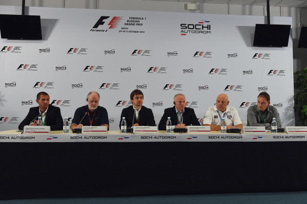 (L to R): Dmitry Pleshalov (RUS) Russian Automobile Ferderation Representative and and Head of Sochi Autodrom Department of NPJSC, Richard Cregan (IRL) Russian Grand Prix International Consultant, Sergey Vorobyev (RUS) Sochi Autodrom Deputy General Director, Alexander Saurin (RUS) Deputy Head of Administration of Krasnodar Krai, Sergey Ivanov (RUS) and Alexander Kalinovsky (RUS) at Formula One World Championship, Rd15, Russian Grand Prix, Practice, Sochi Autodrom, Sochi, Krasnodar Krai, Russia, Friday 9 October 2015.