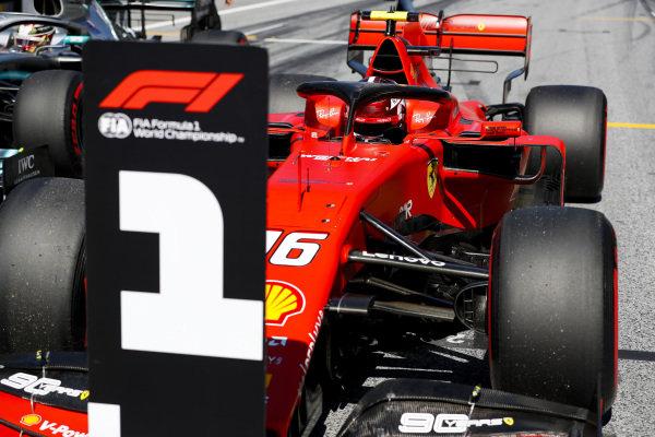 Pole Sitter Charles Leclerc, Ferrari SF90 drives into Parc Ferme