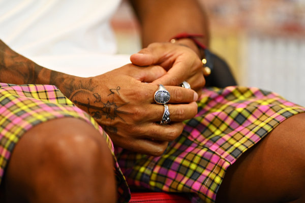 Hands of Lewis Hamilton, Mercedes-AMG Petronas F1 in in the press conference