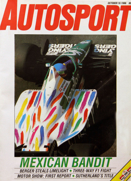 Cover of Autosport magazine, 16th October 1986