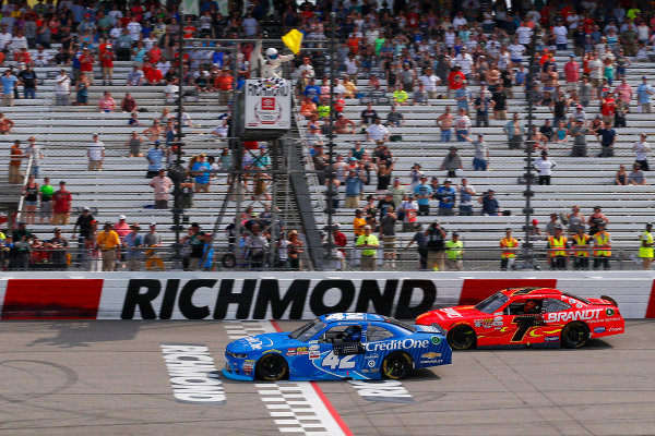 NASCAR Xfinity Series ToyotaCare 250 Richmond International Raceway, Richmond, VA USA Saturday 29 April 2017 Kyle Larson, Credit One Bank Chevrolet Camaro drives under the checkered flag to win World Copyright: Russell LaBounty LAT Images ref: Digital Image 17RIC1Jrl_4633