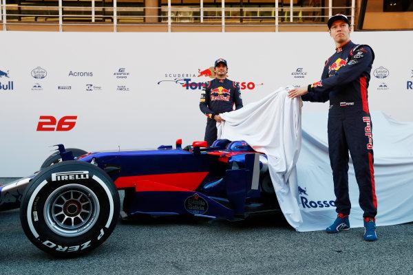 Toro Rosso STR12 Formula 1 Launch. Barcelona, Spain  Sunday 26 February 2017. Carlos Sainz Jr, Toro Rosso. and Daniil Kvyat, Toro Rosso.   World Copyright: Dunbar/LAT Images Ref: _31I9721