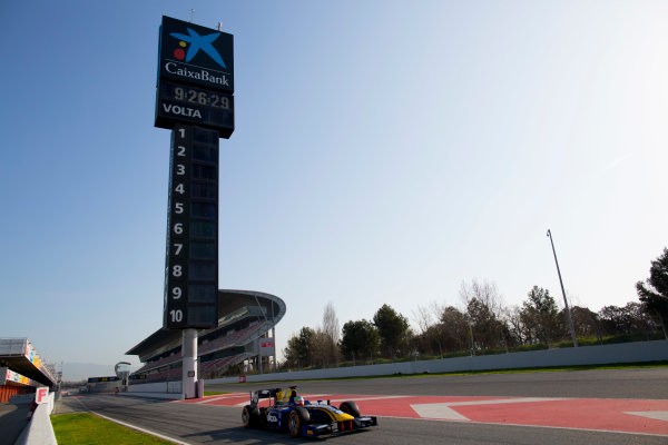 Circuit de Barcelona Catalunya, Barcelona, Spain. Tuesday 14 March 2017. Oliver Rowland (GBR, DAMS). Action.  Photo: Alastair Staley/FIA Formula 2 ref: Digital Image 580A0702