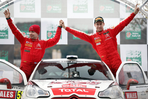 2013 FIA World Rally Championship Round 13-Wales Rally GB 14-17 November 2013 Jukka Korhonen, Marko Salmien, Citroen DS3 R3T, Podium.  Worldwide Copyright: McKlein/LAT
