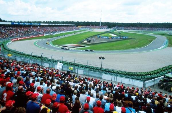 The huge crowd at Hockenheim have a spectacular view German Grand Prix, Hockenheim, Germany, 30 July 2000