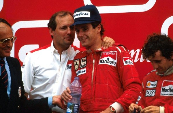 Winner Alain Prost (FRA), 2nd place Gerhard Berger (AUT) with Ron Dennis (GBR) Mclaren Chief Executive, celebrate the finish on the podium