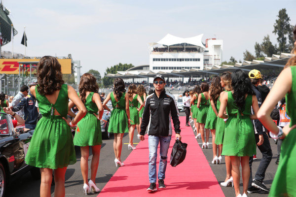 Sergio Perez (MEX) Force India on the drivers parade at Formula One World Championship, Rd19, Mexican Grand Prix, Race, Circuit Hermanos Rodriguez, Mexico City, Mexico, Sunday 30 October 2016.