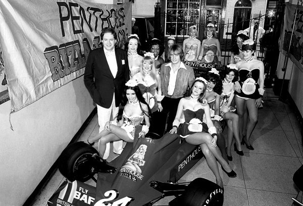 Lord Alexander Hesketh (GBR) (Left) Hesketh Team Owner, and 1977 driver Rupert Keegan (GBR), in car, with the Penthouse Pets at the branding launch of Penthouse Rizla Racing Hesketh 308E.