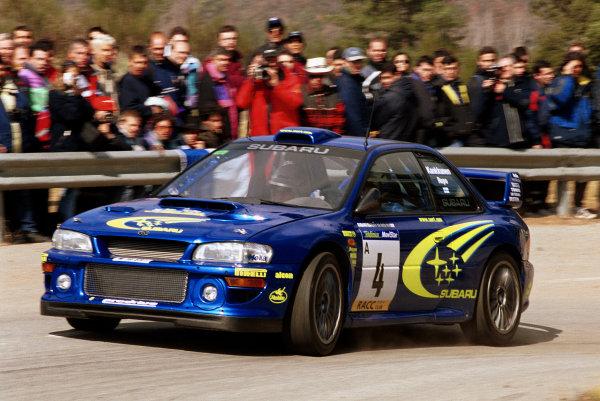 Juha Kankkunen in action in the Subaru Impreza WRC2000.Catalunya Rally 2000.Photo:McKlein/LAT