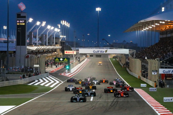 Valtteri Bottas (FIN) Mercedes-Benz F1 W08 Hybrid leads at the start of the race at Formula One World Championship, Rd3, Bahrain Grand Prix Race, Bahrain International Circuit, Sakhir, Bahrain, Sunday 16 April 2017. BEST IMAGE