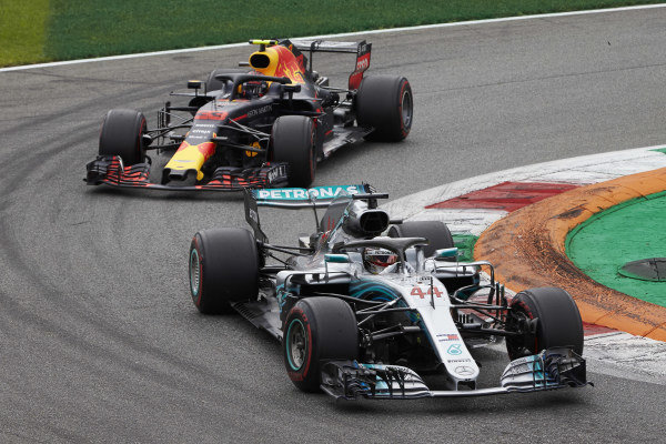 Lewis Hamilton, Mercedes AMG F1 W09, leads Max Verstappen, Red Bull Racing RB14.