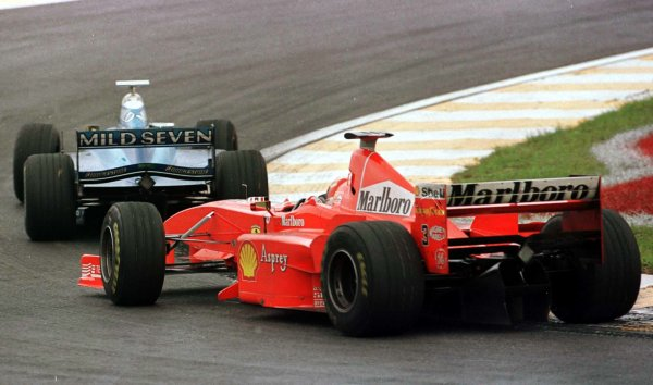 1998 Brazilian Grand Prix.Interlagos, Sao Paulo, Brazil.27-29 March 1998.Alexander Wurz (Benetton B198 Playlife) leads Michael Schumacher (Ferrari F300). They finished in 4th and 3rd positions respectively.World Copyright - LAT Photographic