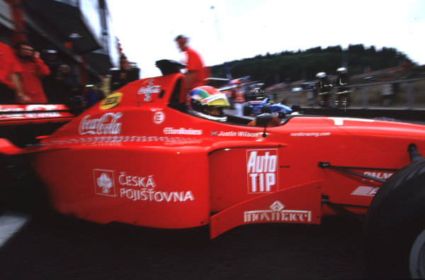 2001 F3000 ChampionshipSpa-Francorchamps, Belgium. 1st September 2001.Justin Wilson (Nordic), finished in 2nd place, clinching the 2001 F3000 title.World Copyright: Lorenzo Bellanca/LAT Photographicref: 35mm Image A13