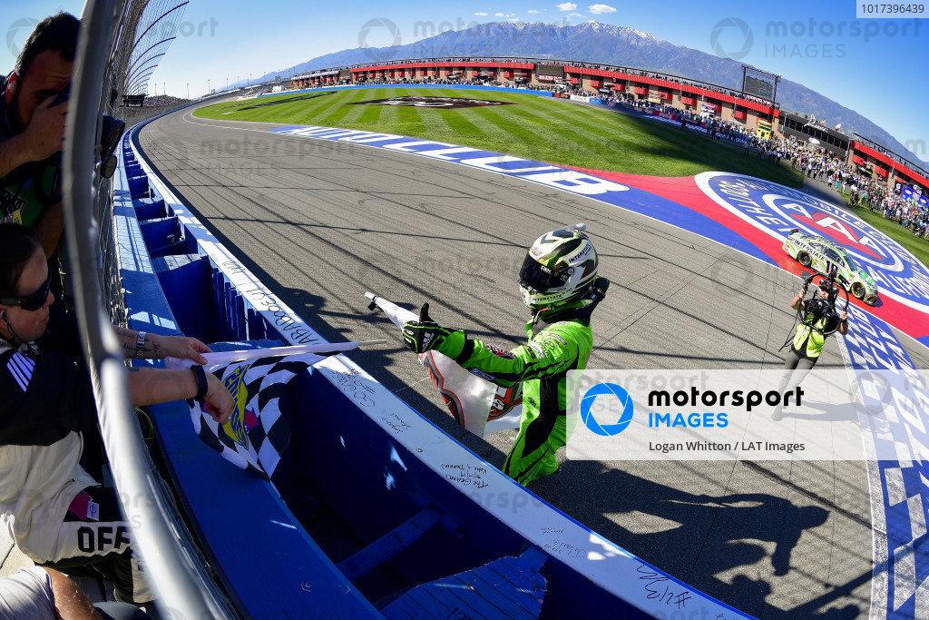 #18: Kyle Busch, Joe Gibbs Racing, Toyota Camry Interstate Batteries celebrates after winning