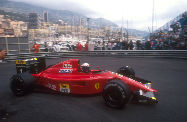 1990 Monaco Grand Prix.Monte Carlo, Monaco.25-27 May 1990.Alain Prost (Ferrari 641) at Rascasse. He was hit by Berger, causing the first race to be stopped. He exited the second race on lap 30 when his battery exploded.Ref-90 MON 29.World Copyright - LAT Photographic