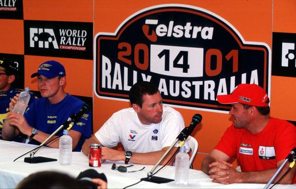 2001 World Rally ChampionshipRally Australia, WRC. 1st - 4th NovemberRichard Burns, Colin McRae and Tommi Makinen.World Copyright - McKlein / LAT PhotographicRef: 35mm Image A13