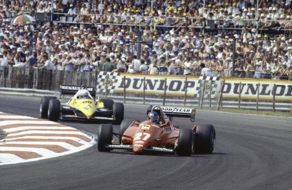 Patrick Tambay, Ferrari 126C3, leads Alain Prost, Renault RE40.