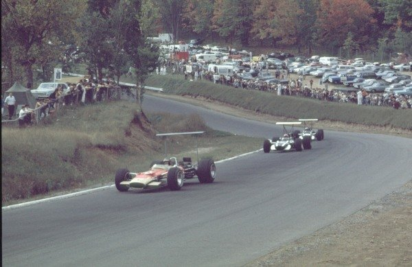 1968 Canadian Grand Prix.Mont-Tremblant, (St. Jovite), Quebec, Canada.20-22 September 1968.Bill Brack (Lotus 49B Ford) leads Lucien Bianchi and Vic Elford (both Cooper T86B BRM's). Elford finished in 5th position.Ref-68 CAN 02.World Copyright - LAT Photographic