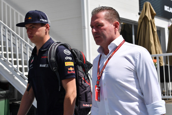 Max Verstappen (NED) Red Bull Racing with his Father Jos Verstappen (NDL)