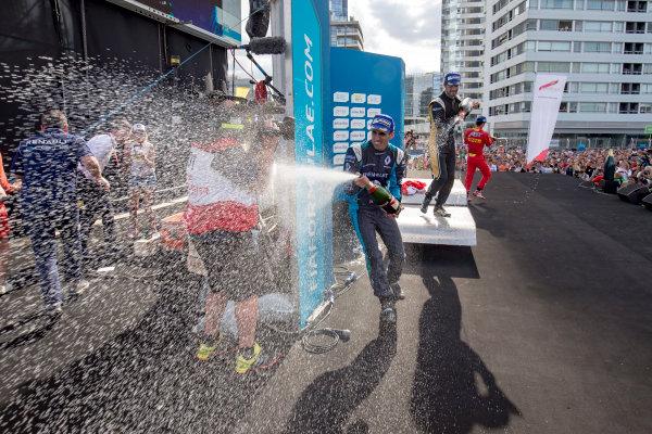 2016/2017 FIA Formula E Championship. Buenos Aires ePrix, Buenos Aires, Argentina. Saturday 18 February 2017. Sebastien Buemi (SUI), Renault e.Dams, Spark-Renault, Renault Z.E 16, podium. Photo: Zak Mauger/LAT/Formula E ref: Digital Image _L0U9043