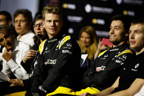Renault  RS17  Formula 1 Launch. The Lindley Hall, London, UK. Tuesday 21 February 2017. Nico Hulkenberg, Renault Sport F1 and Jolyon Palmer, Renault Sport F1.  World Copyright: Glenn Dunbar/LAT Images Ref: _X4I9287