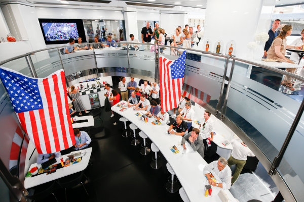 Monte Carlo, Monaco. Sunday 28 May 2017. McLaren adopts a distinctly American feel in the hospitality area, in celebration of their participation in the Indy 500 with Fernando Alonso, McLaren. World Copyright: Andy Hone/LAT Images ref: Digital Image _ONZ0896