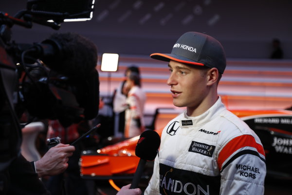 McLaren MCL32 Honda Formula 1 Launch. McLaren Technology Centre, Woking, UK. Friday 24 February 2017. Stoffel Vandoorne, McLaren, is interviewed by the media. World Copyright: Glenn Dunbar/LAT Images Ref: _31I9594